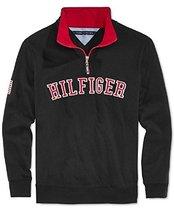 Tommy Hilfinger Boys' Quarter-Zip Varsity Pullover- Black (4)