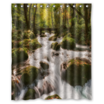 Forest Stream Shower Curtain Waterproof Made From Polyester - $29.07+