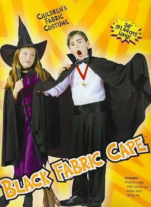 "CHILD'S BLACK 36"" CAPE WITH COLLAR DARTH VAMPIRE WITCH"