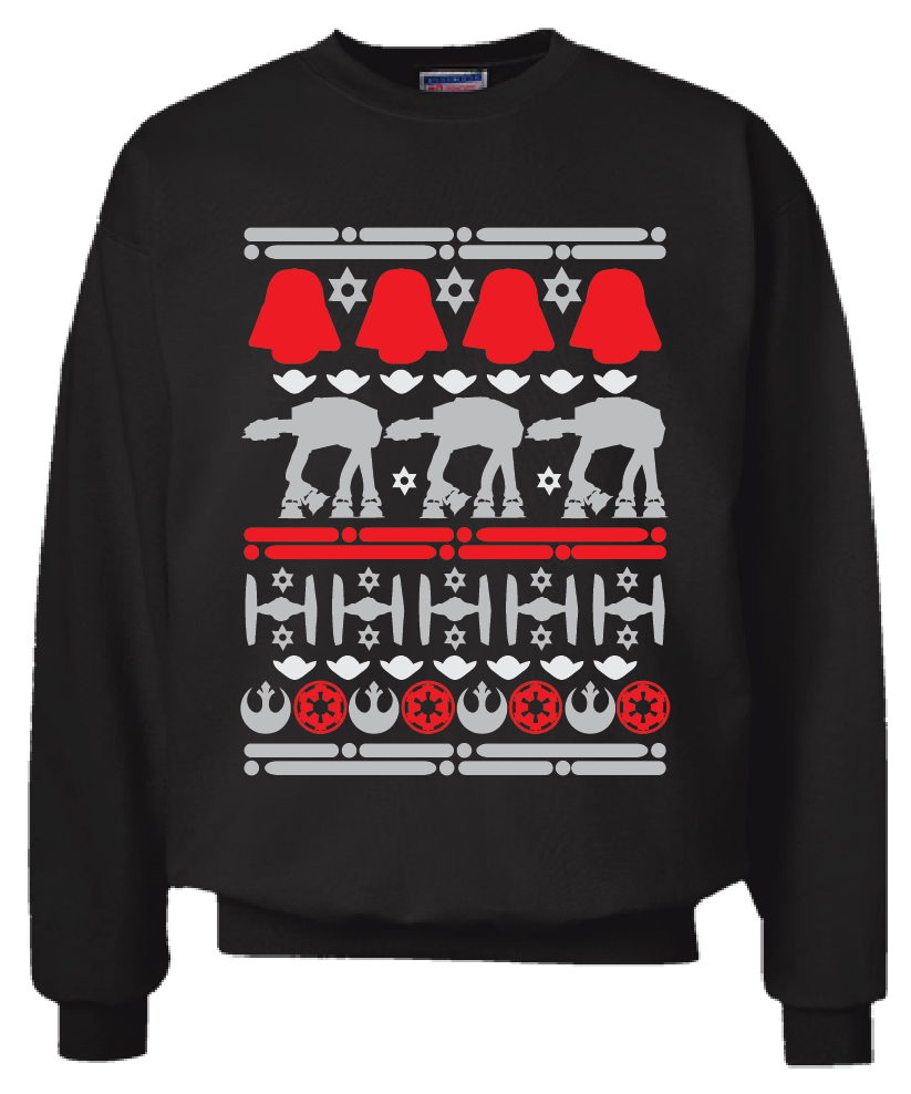 Primary image for Star Wars Christmas Sweater Sweatshirt Black Size S - 2XL Ugly Sweater Party