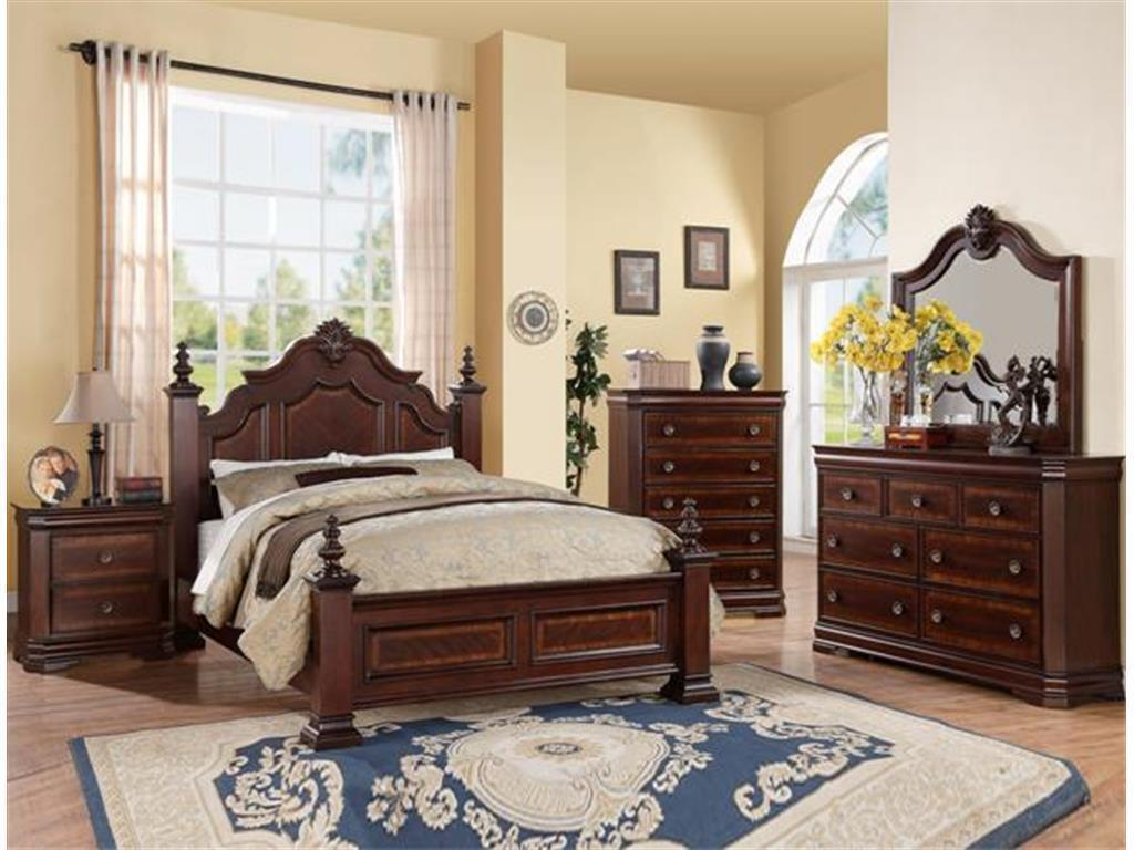 Crown Mark RB8300 Charlotte Queen Size Bedroom Set 2 Night Stands Traditional