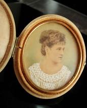 1885 Handpainted portrait in Victorian silk locket case hand painted ori... - $375.00