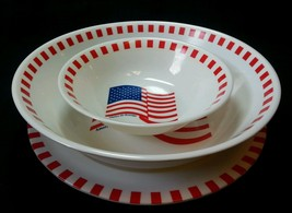Melemine Ware Set of 3 Plate, Bowl, Serving Bow... - $14.00