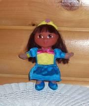 "Dora the Explorer Vinyl & Cloth Doll 9"" Fisher-Price Blue & Yellow Princess - $4.85"