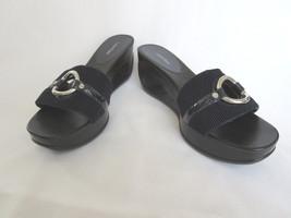 Calvin Klein Shoes Womens 9.5 Yau Black Slides Cut Out Wedge Heels Sanda... - $36.00
