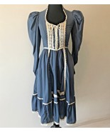 Vintage 1970s Gunne Sax Blue Lace Up Corset Peasant Dress size 5 XS USA DS6 - $104.95