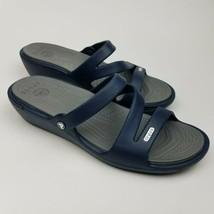Crocs Women's Size 11 Patricia Sandal Navy/Smoke Strappy Wedge - $24.75