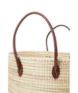 White Oval Knitting Basket with Brown Leather Handles Fair Trade Handmade  - $155.00
