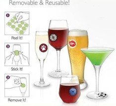 Wine Glass Stick'ems Cocktail Party Glass Removable Decals Glass ID Charms -24pc - $7.99