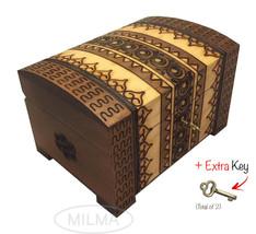 Polish Handmade Wooden Chest Linden Wood Jewelry Keepsake Box w/Lock and... - $34.64