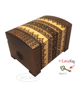 Polish Handmade Wooden Chest Linden Wood Jewelry Keepsake Box w/Lock and... - $34.64