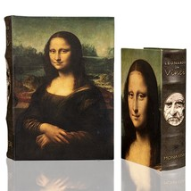 Da Vinci MONA LISA Book Box Set Secret Storage Wood Book Box Coffee Table Decor - $39.99