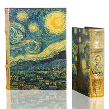 Starry Night by Vincent Van Gogh Book Box Set Leather over Wood Secret Storage  - $48.99