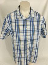 Levi's Blue and White Plaid Short Sleeve Shirt 100% Cotton Men's XL - $19.99