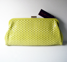 Elliott Lucca Genuine Citron Roma Woven Leather Patent Clutch - New with... - $80.44 CAD