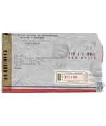 1944 WWII Uruguay Censored Registerd Commercial Meter Cover Montevideo t... - $6.69