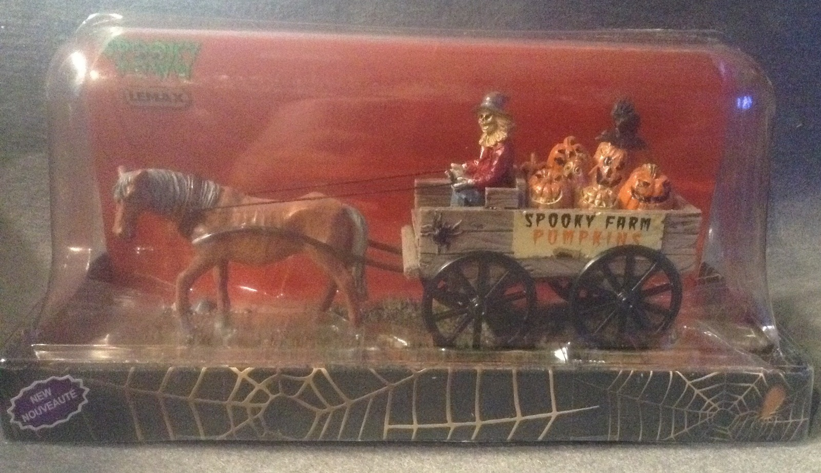 Lemax Spooky Town Halloween Pumpkin Wagon Farm Horse Haunted Table Accent