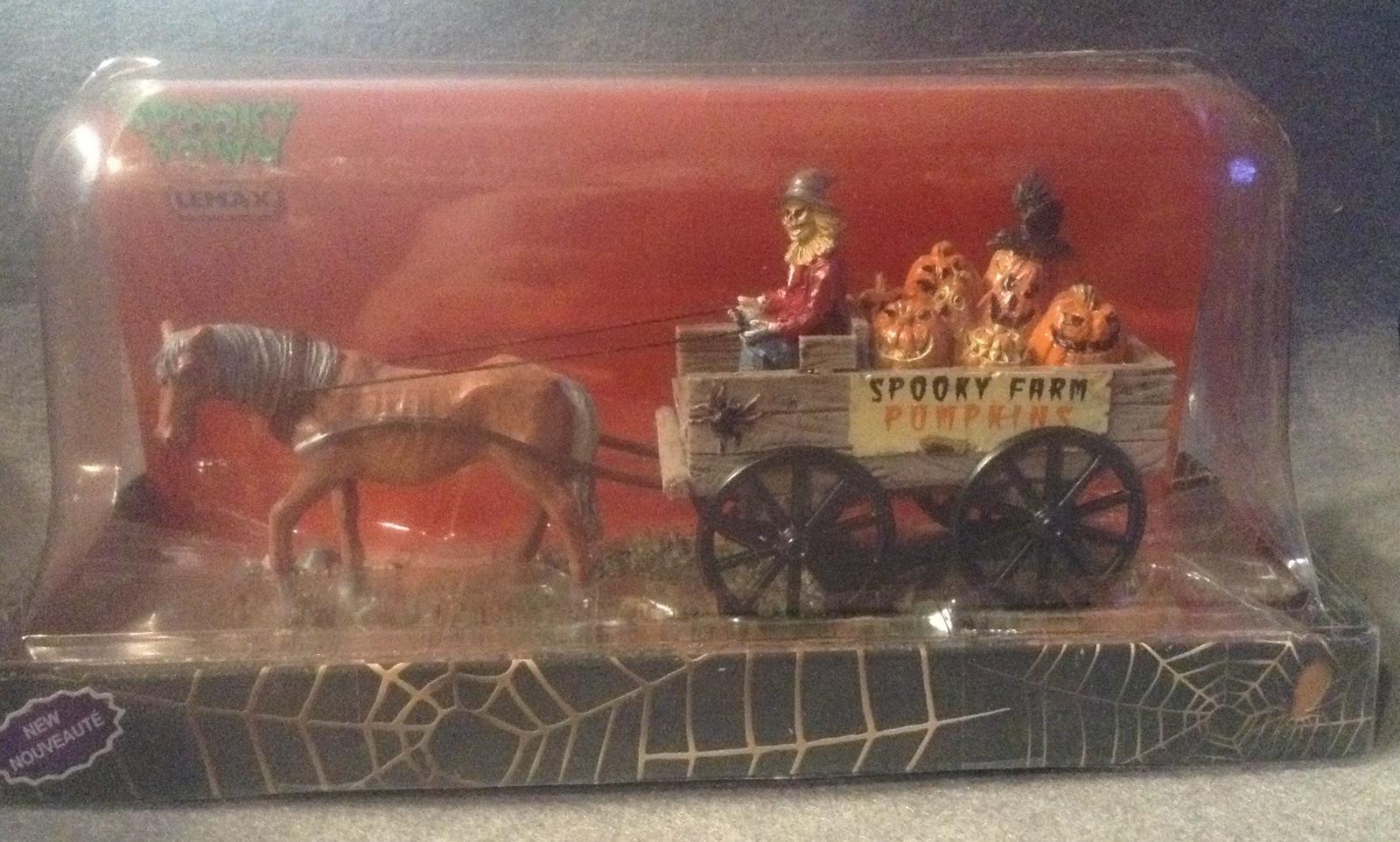 Lemax Spooky Town Halloween Pumpkin Wagon Farm Horse Haunted Table Accent