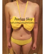 Yellow Cute Ribbon Big Bow Bikini Swimsuit Summer - USA SELLER - $35.00