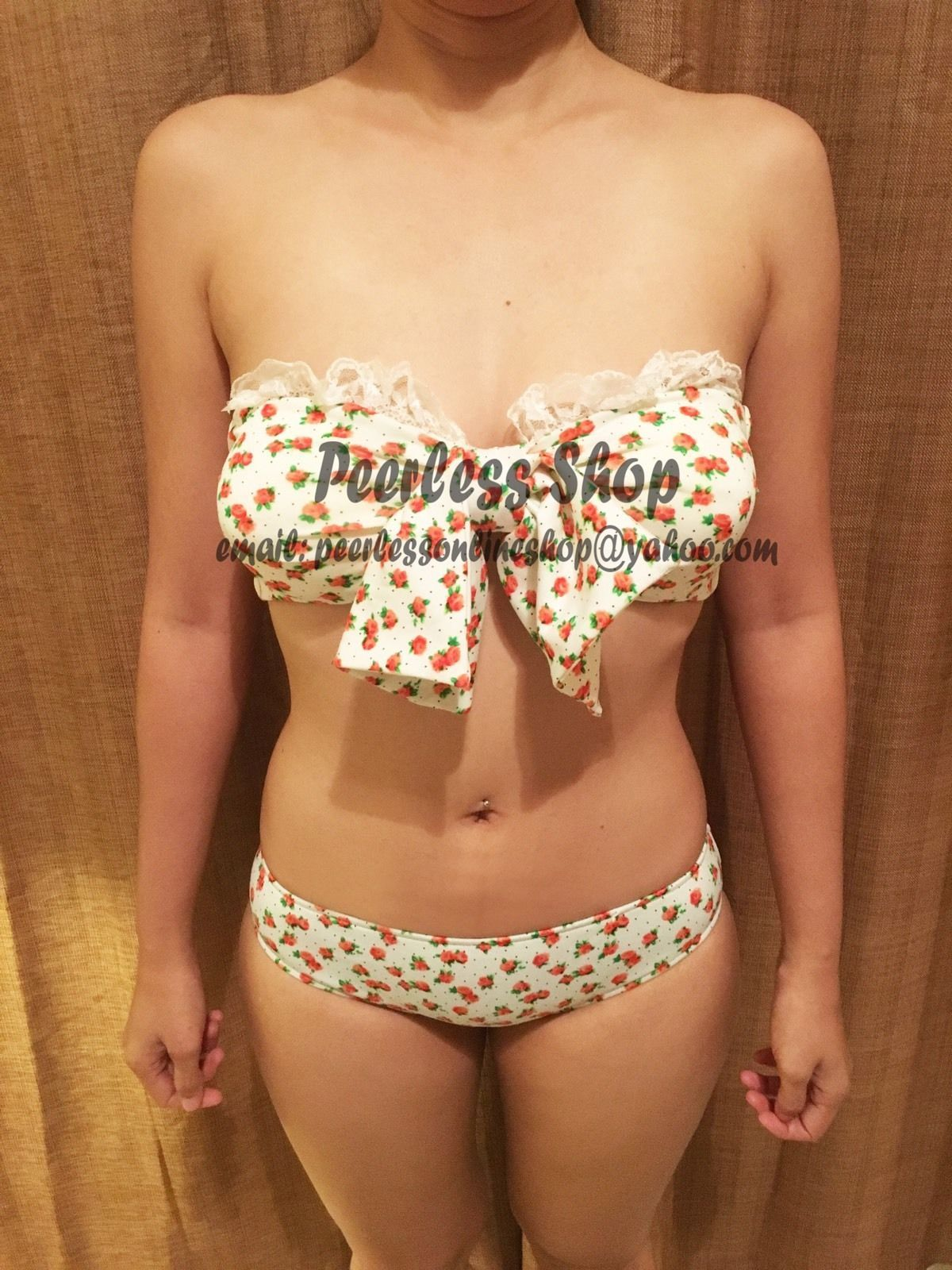Primary image for Floral Bow Cute Sexy Retro Vintage Bikini Swimsuit Summer - USA SELLER