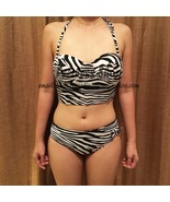 Corset Bustier Zebra Black And White Swimsuit Bikini Summer - $35.00