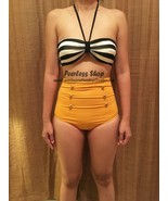 Black And White Stripe, Yellow Highwaisted Vintage Bikini Swimsuit Summer - $38.00