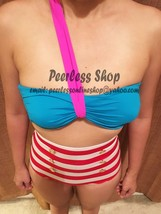 Red and White Striped Highwaisted Vintage, Blue,Pink Top Bikini Swimsuit... - $38.00