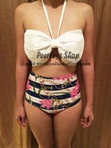 White Bow Striped Floral Highwaisted Vintage Bikini Swimsuit Summer-USA ... - $38.00
