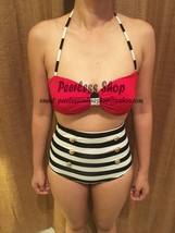 Red and White Striped Highwaisted Vintage, Red Top Bikini Swimsuit Summer - $38.00
