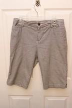 First Issue Women's Sz 8 Black White Stripe 100% Cotton Walking Shorts B... - $9.87
