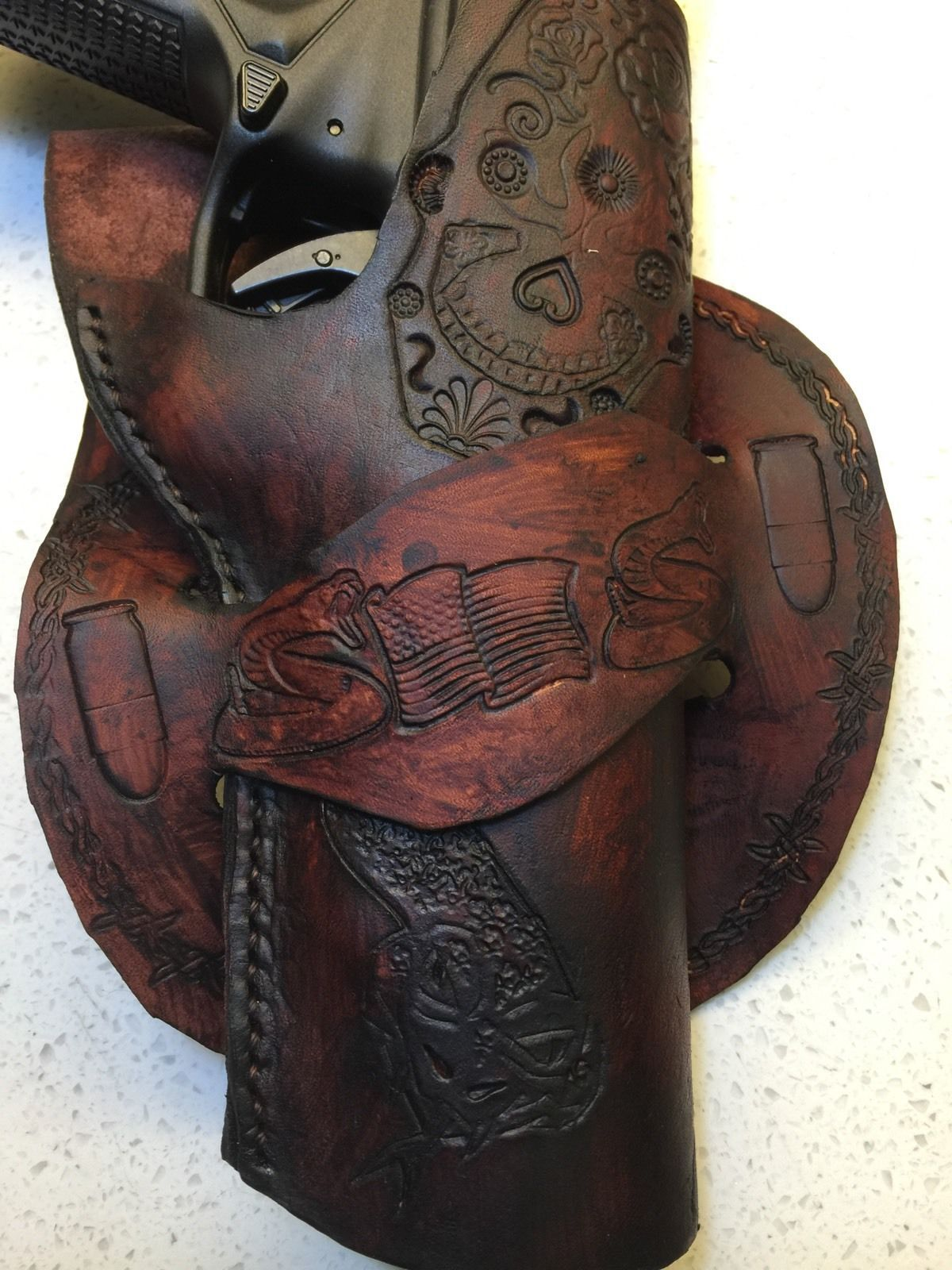 Handmade leather gun holster auto custom carving holsters