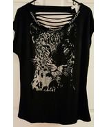 Graphic Leopard Print Ballet Chain Slashed Back Tee Shirt XXL Black - $20.00