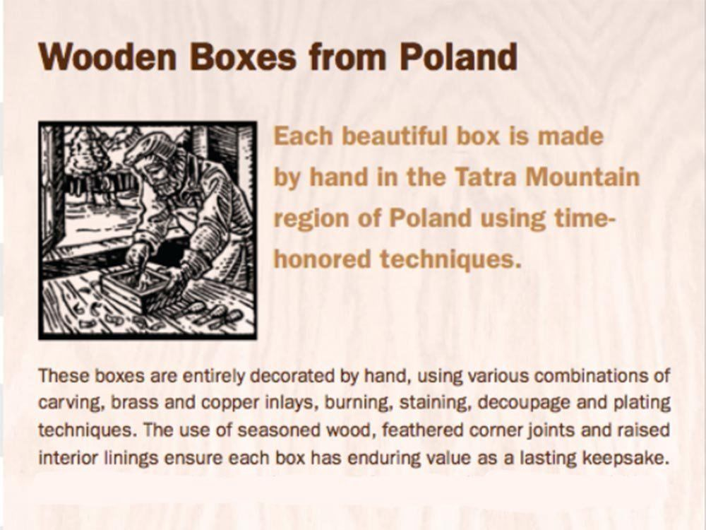 Decorative Wood Box Classic Traditional Polish Handmade Wooden Jewelry Box