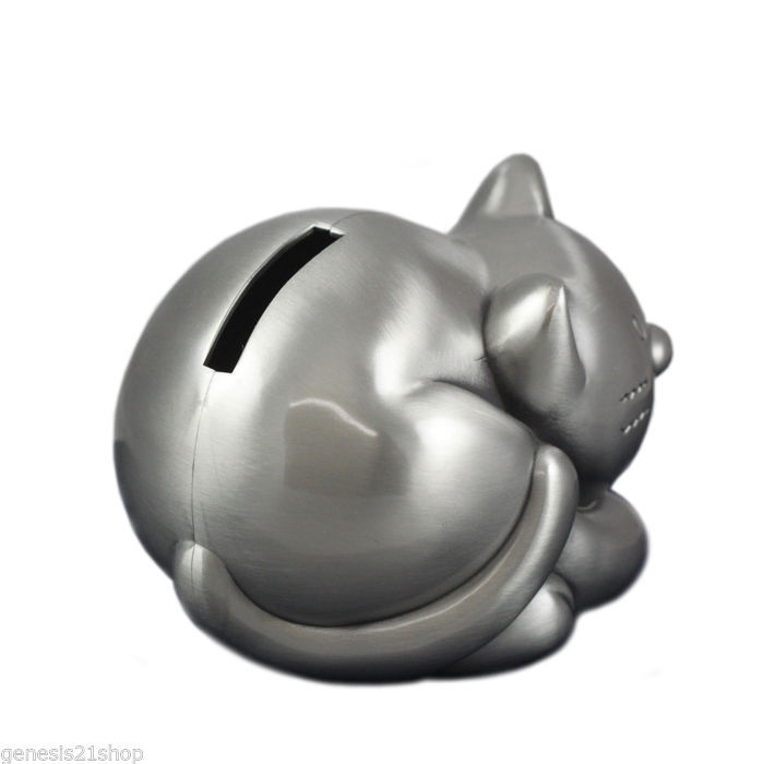 Kitty Money Cat Piggy Bank, Non Tarnish Pewter Finish