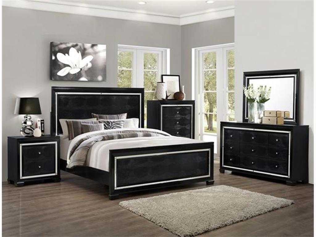 Crown Mark RB7200 Aria Queen Size Bedroom Set 5pc. Chic Contemporary Style