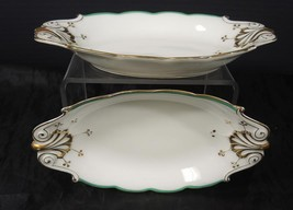 Two Green & Gold Civil War Era Relish Trays Clark Plympton & Co Importer... - $37.99