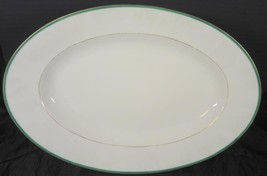 Green & Gold Civil War Era Oval Platter * Clark Plympton & Co Importers ... - $47.49
