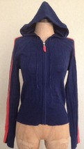 United States Sweaters Hooded Cardigan Cable Knit Navy Blue Orange Stripe M - $23.36