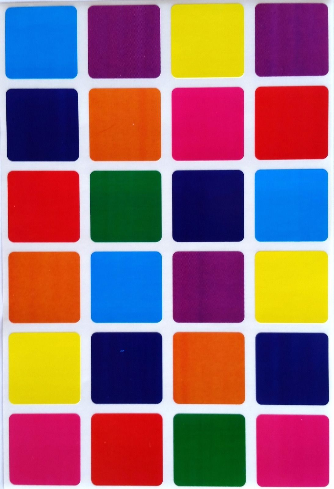1 Inch Square Color Coding Labels 8 Colors Colored Dot