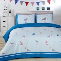 Seemöwe Anker blau grau Baumwollmischung Einzelbett Bettbezug - $29.85