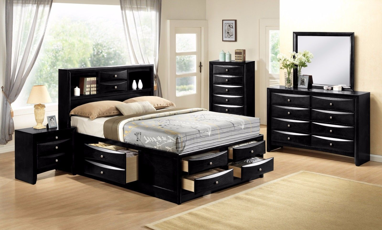 Crown Mark RB4285 Emily Storage Queen Bedroom Set Transitional 2 Night Stands