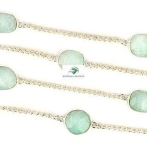 """Natural Amazonite Stone Brass 925 Silver Plated 36"""" Long Chain Vintage Necklace - $33.98"""