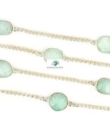 """NATURAL AMAZONITE STONE BRASS 925 SILVER PLATED 36"""" LONG CHAIN VINTAGE N... - $33.98"""