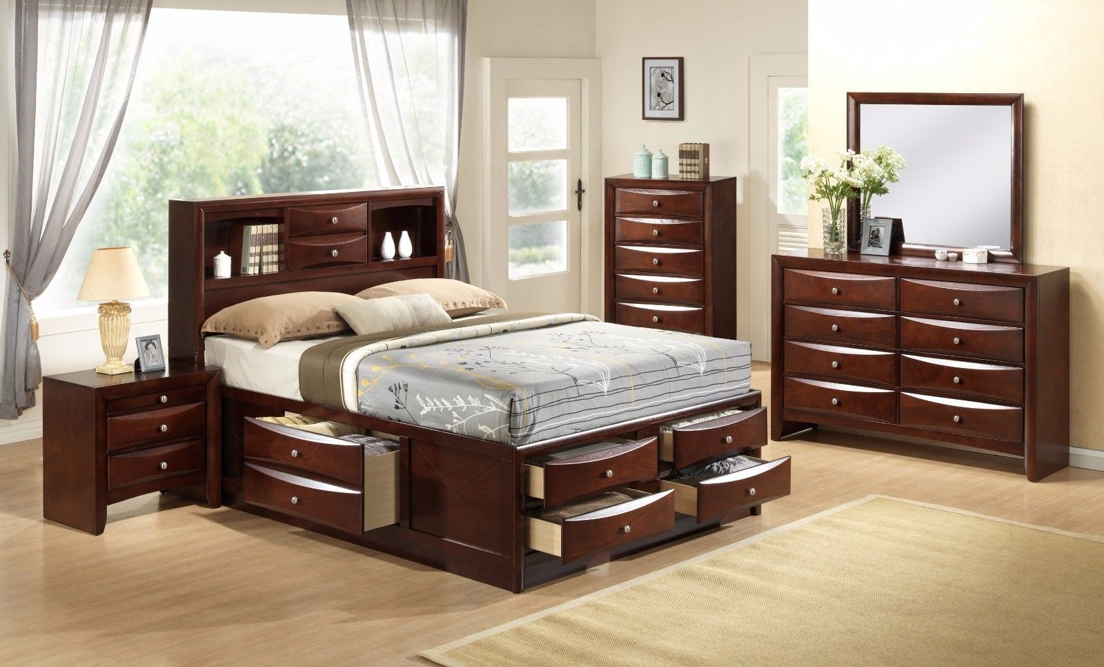 Crown Mark RB4255 Emily Storage Queen Bedroom Set Transitional 2 Night Stands