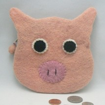 Pink Pig Face Felt Felted Coin Change Purse (CHG901) - $12.00