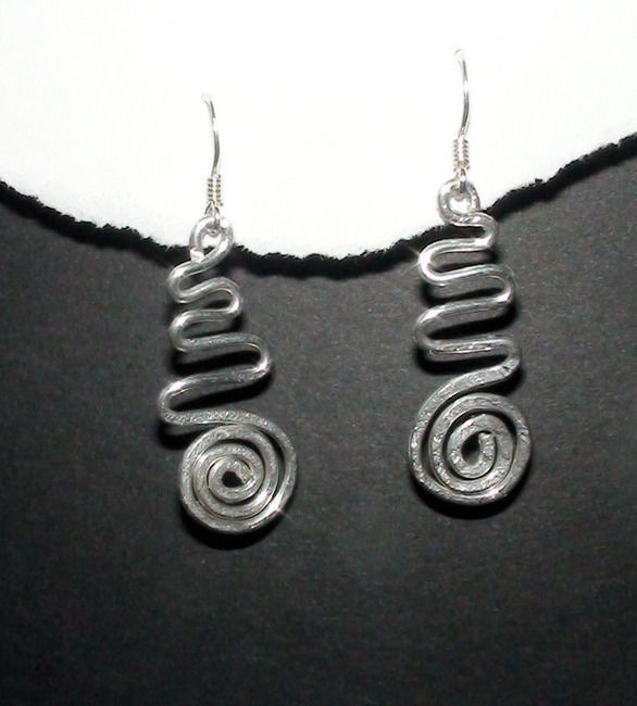 Primary image for Sterling Silver Hammered Swirl & Wave Dangle Earrings
