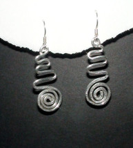 Sterling Silver Hammered Swirl & Wave Dangle Earrings - $32.00