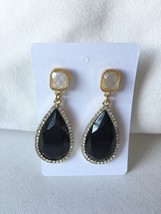 Black Acrylic Teardrop Crystal dangle Earring - $21.00