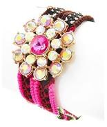 Handmade Fuschia Pink Multi Color Thread Rhinestone Flower Cuff Bracelet - $19.00