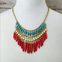 Turquoise Ivory red spike fringe western necklace - $26.16 CAD